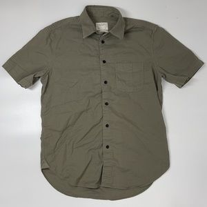Rag & Bone Collared Short Sleeve Button Front Shirt Olive Green Men's Small